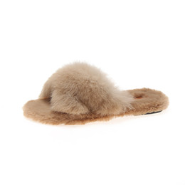97dabd2534b Women Fur Home Fluffy Sliders Winter Plush Furry slippers women winter  Flats Sweet Ladies Shoes Cross-fleece Slippers