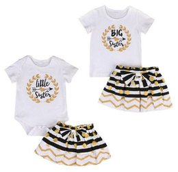 Big Little Shirts Australia - Toddler Clothes Baby Clothing Kids Girls Clothes Set Big Sister T-shirt Skirt Little Sister Romper Mini Skirt Matching Outfit Set Boutique