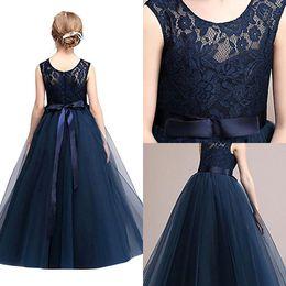 Toddler navy blue dress online shopping - Navy Blue Cheap Flower Girl Dresses In Stock Princess A Line Sleeveless Kids Toddler First Communion Dress with Sash MC0889