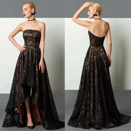 Prom Dress Strapless Black Lace Silk NZ - Champagne with Black Evening Dresses Lace High-Low A-Line Strapless Zipper Back Sexy Newest Prom Dresses Plus Size Formal Gowns