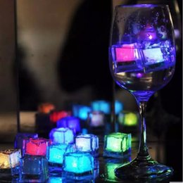 iced lamps 2019 - New Romantic LED Ice Cubes Fast Flash Slow Flash 7 Color Changing led lamp Crystal Cube Valentine's Day Party Weddi