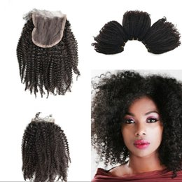 hair bundles closures sale 2019 - Human Hair Bundles With Lace Closures 4x4 Kinky Curly Virgin Hair Weaves Closure G-EASY Hot Sale cheap hair bundles clos