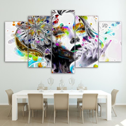 Painting Faces Australia - Printed Poster 5 Panel Psychedelic Watercolor Girl Face With Flower Canvas Wall Art Pictures Abstract Painting Home Decor Room