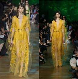 $enCountryForm.capitalKeyWord NZ - 2018 Elie Saab Spring Summer Yellow Deep V Neck Evening Dresses Sheer Illusion Vestidos Lace Prom Dress With Sash