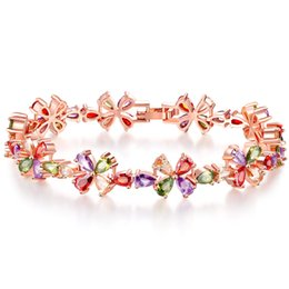 SwarovSki jewelry SetS online shopping - Swarovski elements colorful rose gold zircon copper bracelet anti allergy sumptuous dinner link chain women girl top quality jewelry gift