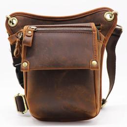 tool leg bag 2019 - Vintage Genuine Cow Leather Belt Bag Men's Waist Bag Leg Fanny Pack Shoulder BagMobile Phone Camera Tool Kits Organ