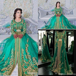 Long sLeeved modern evening dresses online shopping - Long Sleeved Evening Dresses Emerald Green Muslim Formal Abaya Designs Dubai Turkish Gold Applique Prom Dresses Gowns Moroccan Kaftan