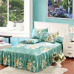 Wholesale 3pcs Floral Modern Sheet Set Bed Skirt Pillow Shams Double Full Twin Bedclothes Fade Wrinkle Stain Resistant cm