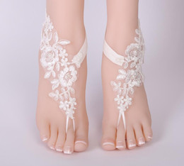 women lace anklets foot chain Canada - New Women lace floral anklet Foot Chain Barefoot Sandals Anklet Embroidery Flower Bride wedding prom accessory Foot jewelry