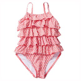 China UPF50+ Baby Girls Marguerite Bikini Five Layers Lace Cake Swimwear One-pieces Costumi da Bagno Flora Printed Plus Size Dresses Kids Clothing suppliers