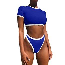 Two piece bikinis online shopping - Bkning Short Sleeve Bikini Women High Neck Bikinis Mujer Bandeau Swimsuit Female Two Piece Women S Swimwear White Trikinis