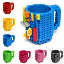 Kids Blocks Wholesale Australia - Build-On Brick Mug 10 Colors DIY Bulding Blocks Coffee Mugs 350 ml Creative Drinkware BPA Free Mug Birthday Gifts LA615-2
