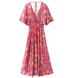 3fad82e72 Vestido Largo Vestido de flores Retro Bohemio Maxi Vestido Sexy Étnico con  cuello en V profundo Estampado floral Vestidos de playa Boho Hippie Robe