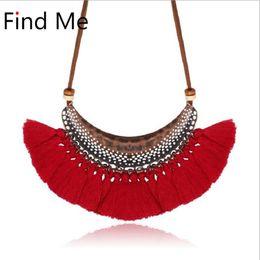$enCountryForm.capitalKeyWord UK - Find Me 2018 new fashion weaving long tassels collar choker necklace pendants vintage statement necklace women Jewelry wholesale
