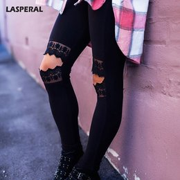 rip leggings NZ - LASPERAL Black Patchwork Ripped Hole Sexy Lace Leggings Women High Waist Pencil Pants Gothic Punk Streetwear Leggins Femme 2017