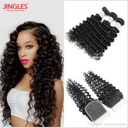 $enCountryForm.capitalKeyWord Australia - 9A Malaysian Deep wave Human Remy Hair Bundles with 4x4 Top lace Closure 100% Virgin Human Hair bundles with Beached Konts lace closure