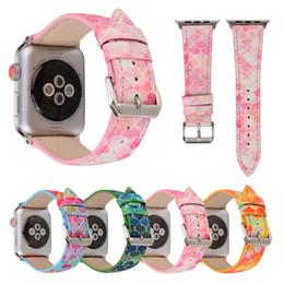 $enCountryForm.capitalKeyWord Canada - For 38 42mm Apple Watch Band Genuine Leather Fish Skin Prints Colorful Outdoors Sports iwatch Strap Belt Wrist Bracelet I324.