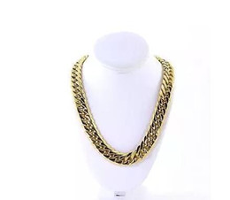 wedding thick gold chain Australia - Mens Thick Large 14K Gold Plated Miami Cuban Stainless Steel Chain Hip Hop