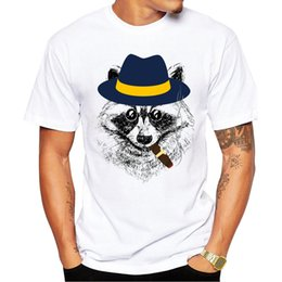 Design Tee Shirts Canada - New 2018 Summer Fashion Raccoon Retro Design T Shirt Men's Smoking Raccoon Printed T-shirt High Quality Tops Hipster Tees