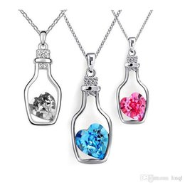 $enCountryForm.capitalKeyWord Australia - New Arrival Austria Crystal Wishing Bottle Pendant Necklace Designer Jewelry For Women, With 925 silver chain necklace