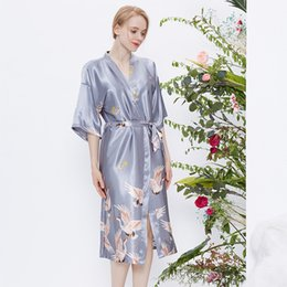 half sleeves satin robe 2019 - Sexy Women Wedding Bridesmaid Robes Casual Mid-Calf Lingerie Satin Bathrobe Half Sleeve Summer Dressing Gown Nightwear d