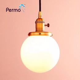 "Globe Glasses Australia - PERMO 5.9"" Milk White Glass Globe Pendant Lights Vintage Pendant Ceiling Lamps Modern Hanglamp Retro Luminaire Lights Fixture X"