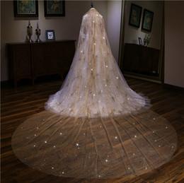 5df363df5 Velos de boda de lujo Bling con cuentas de 3.5 M de largo 3M de ancho  Estrellas Champagne Gold Velo nupcial de una capa Velo de novia