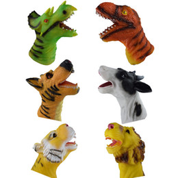 $enCountryForm.capitalKeyWord UK - 6 Types Quality Soft Vinyl PVC Animal Hand Puppet Toys Novelty Cute Dog Lion Dinosaur Tiger Children Gifts Model