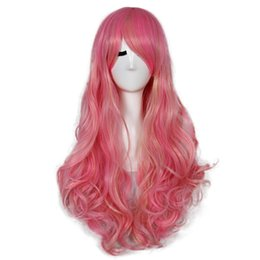 $enCountryForm.capitalKeyWord UK - 23 Inch Long Wavy Cheap African American Fake Hair Cosplay Synthetic Pink Golden Ombre Hair Wig for Women Free Shipping