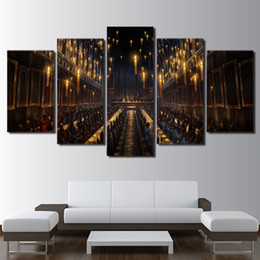 Art Church Australia - Modern Decoration Living Room Wall Art 5 Panel Movie Harry Potter Church Candlelight Picture Magic Canvas Painting Print Frame