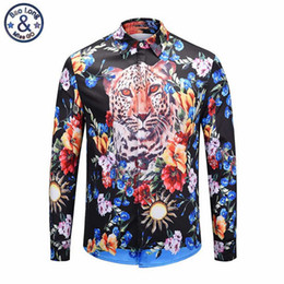Chinese  Autumn Fashion Tiger Printed Floral Dress Shirt Men Long Sleeve Stage Shows Shirt Slim Fit Male Social Shirts Teen Streetwear manufacturers