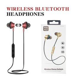 Wholesale Wireless bluetooth headphones Stereo Earphones In Ear Sport Earbuds Microphone Running Magnetic earbuds For iPhone X Samsung Galaxy s9 MS