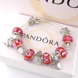 Опт AAA68 Шарм браслеты 925 Серебряный Pandora браслеты поставляются с футляром, сумка 2018 бесплатная доставка