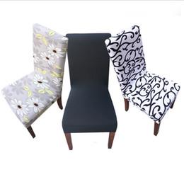 Vente en gros 2018 Europe Banquet En Spandex Imprimé Stretch Simple Conjoined Chair Covers Home Dining Party De Mariage Chaise Couvre 34 styles