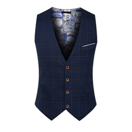 Wholesale men work vest for sale - Group buy Spring Autumn Man Fashion Suit Vest Male Plaid Suit Waistcoat Formal Business Wedding Slim Casual Party Dress Vests Men Work Waistcoat XL