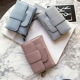 Free Style Wallets NZ - Free shipping! Women's purse 3 fold short style wallet Korean version zipper student pocket multi-functional button pocket wallet