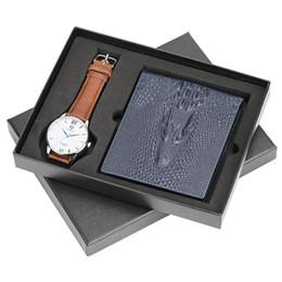 $enCountryForm.capitalKeyWord UK - Standard Wallets Fashion Watches Men Multi Functional Photo Bit ID Card Holder Zipper Pouch Coin Pocket with Quartz Watch Gifts