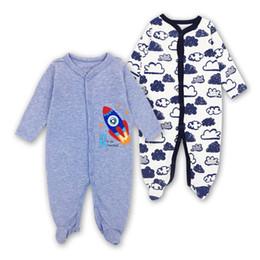 $enCountryForm.capitalKeyWord NZ - Free shipping 2 PCS Brand Baby Romper Long Sleeves 100% Cotton Baby Pajamas Cartoon Printed Newborn Baby Girls Boys Clothes Cheap Wholesale