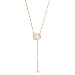Discount rhodium plated cz - elegant fashion jewelry oval tear cz opal stone Long chain gold delicate 2018 drop shipping lariat sexy lariat Y cute ne