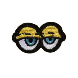 Eyes Patches Australia - Embroidery Patch Yellow Eyes Eyelid Sew Iron On Patches Dozy Embroidered Badges For Bag Jeans Hat T Shirt DIY Appliques Craft Decoration