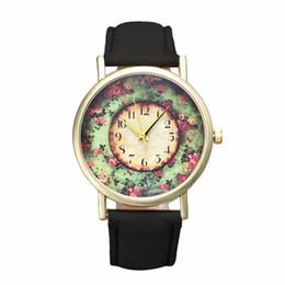 floral dial watch 2019 - Best hotsale Alloy Quartz colorful ladies watch Pastorale Floral Women Leather B Analog Quartz Dial Wrist Watch J 19 P*2