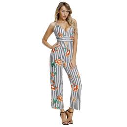 3020c937e17 Sexy Camisole Jumpsuit 2018 Women Boho Clubwear Rompers Black White Stripes  Floral Long Pants Leotard Overalls