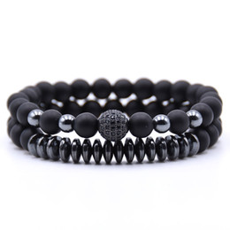 hematite jewelry sets NZ - KANGKANG 2PCS Set Matte Black Natural Stone Bracelet 8mm Elastic Rope Bead Hematite Bracelet Fashion Men Women charm Jewelry