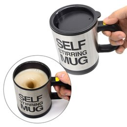 automatic self stirring mug UK - 400ml Automatic Self Stirring Mug Coffee Milk Mixing Mug Stainless Steel Thermal Cup Electric Lazy Double Insulated Smart Cup