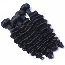 16 Inch Deep Wave Hair Australia - Deep Wave Indian Temple Human Hair Bundles Unprocessed Virgin Hair Weaves Double Weft Extensions Natural Color Dyeable 8-30 inch