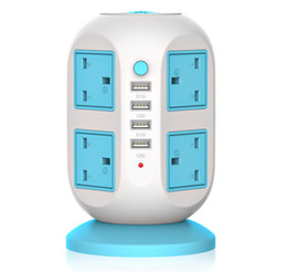 8 US Outlet + 4 USB Overload Protection Material ignífugo Anti-trueno Vertical Multi-socket