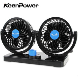 Discount double fan 12v - Keenpower 12V DC Rotary Electric Car Fan 2 Speed Double Head Crucible Car Air Conditioner Portable Aircooling Fan Auto 1