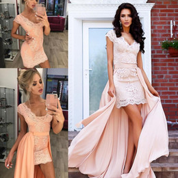 $enCountryForm.capitalKeyWord UK - Sexy Lace V-Neck Short Party Dresses Detachable Skirt Sheath Custom Applique Cheap Homecoming Wear Prom Dress Formal Evening Ball Gowns