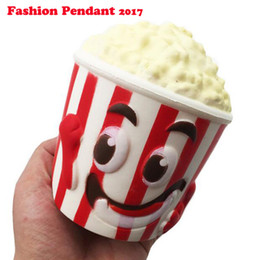Diy Boys Toys UK - Cute 13CM Squeeze Popcorn Squishy Bread Soft Slow Rising Pop Corn with Cup Phone Straps DIY Decor Kids Toy Gift