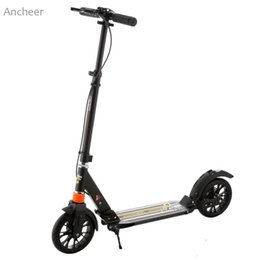 Ancheer Newest Kick Scooter Adult Foldable 3 Levels Adjustable Height 2-Wheel Kick Scooter with Hand Brake